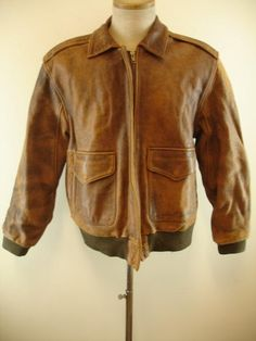 248ba292586 Mens M Vtg Spirit distressed brown leather flight bomber jacket A-2 style  type