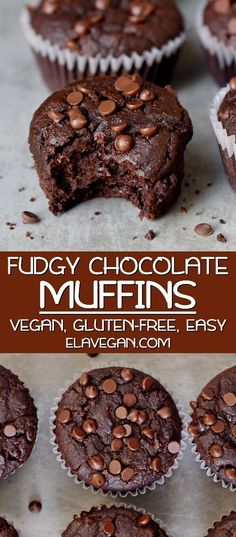 These are the best vegan chocolate muffins with simple ingredients made in one bowl in about 30 minutes The recipe is plant-based gluten-free and super easy to make You don t want to miss this fudgy moist and rich deliciousness Muffins Sans Gluten, Dessert Sans Gluten, Vegan Dessert Recipes, Gluten Free Recipes, Real Food Recipes, Vegan Muffins Gluten Free, Sugar Free Muffins, Vegetarian Sweets, Best Gluten Free Desserts