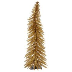 5' Pre-Lit Whimsical Antique Gold Artificial Tinsel Christmas Tree -Clear Lights