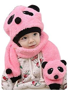 Accessories Toddler Infant Unisex Girl Boy Baby Hat Cap Beanie Scarf Panda Cartoon Two Piece Set Harmonious Colors