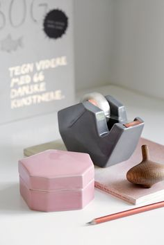 Officina Office Accessories from Kahler - Feminine Office Ideas - Styling Stationery Feminine Office Decor, Office Space Decor, Office Wall Art, Study Office, Workspace Inspiration, Home Decor Inspiration, Interior Design Photos, Interior Styling, Nordic Design