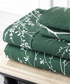 Another great find on #zulily! Hunter & Ivory Foliage Microfiber Sheet Set by Spirit Linen #zulilyfinds