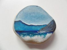 Highland beach Miniature art on sea pottery by Alienstoatdesigns, $15.00