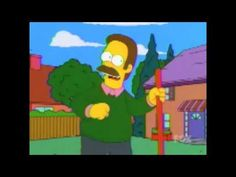 """The Simpsons, season 13, episode 18, """"I Am Furious (Yellow),"""" aired 28 April 2002. Ned Flanders is voiced by Harry Shearer and Homer Simpson is voiced by Dan Castellaneta."""