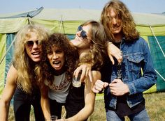 1984,Paris  James Hetfield, Kirk Hammett, Lars Ulrich and Cliff Burton backstage during the Breaking Sound Festival in Paris on August 29, 1984.