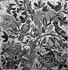 'Bird Tree' by Mark Hearld (steam rolled linocut)