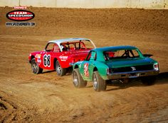 Vintage Dirt Track Racing Action Race Cars