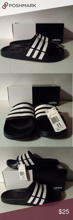 best website 2ecd3 5ef46 Shop Men s adidas Black White size 11 Sandals   Flip-Flops at a discounted price  at Poshmark. Description  Adidas Duramo Slide Sandals - Black White Shower  ...