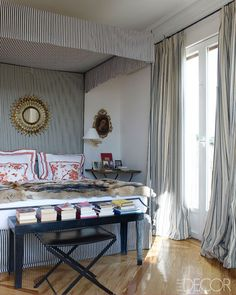 the Madrid apartment of Carolina Herrera Baez as seen in Elle Decor. Carolina Herrera, Elle Decor, Style At Home, Madrid Apartment, Master Bedroom, Bedroom Decor, Bedroom Apartment, Driven By Decor, Celebrity Houses
