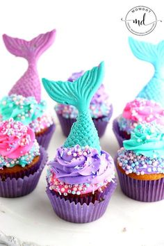 Mermaid Cupcake recipe plus how to make a mermaid tail cupcake topper, step by step recipe and picture tutorial