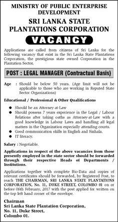 Sri Lankan Government Job Vacancies at Sri Lanka State Plantations Corporation for Legal Managers