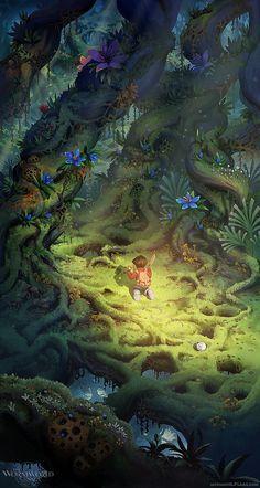 illustration, woodland, tree, jungle, flower, figure, child, boy, behind, kneeling, holding, lighting. Cute Illustrations by Daniel Lieske