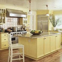 Buttery Yellow Kitchen   This Is Pretty But You Would Be Insane To Do Yellow  Cabinets.