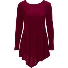Long Sleeve Asymmetric Tee Dress - WINE RED S