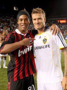 Ronaldinho and Beckham! Legends!