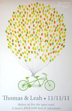 Wedding Thumbprint Guest Book  Balloons on A by PERSONALIZEDprints, $65.00 aqh5034