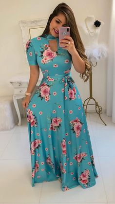 US Womens Floral Maxi Dress Prom Evening Party Summer Beach Casual Long Sundress Plus Size Maxi Dresses, Trendy Dresses, Casual Dresses, Fashion Dresses, Short Sleeve Dresses, Long Sleeve, Vintage Long Dress, Vintage Party Dresses, Floral Maxi Dress