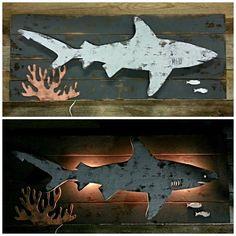 Rustic Shark Reef Lighted Silhouette old shark
