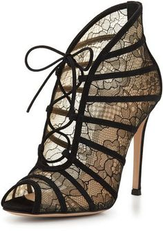 Pin for Later: The Sexy Fall Shoe Trend You Can Start Wearing Now  Gianvito Rossi Chantilly Lace Open-Toe Bootie, Black/Nude ($1,150)