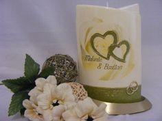 Hochzeitskerze*RoseHeart*inkl.Beschriftung von WACHSLÄDLE auf DaWanda.com