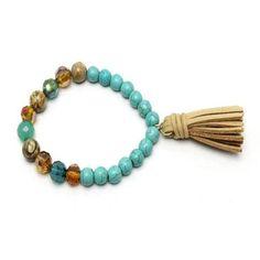 TURQUOISE & STONE TASSEL BRACELET $13 http://www.paisleygraceboutique.com/collections/bracelets/products/turquoise-stone-tassel-bracelet