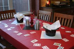Magic party decorations - use top hats as centerpieces or for holding food & playing cards for scatters