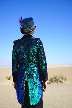Exquisitely Tailored Mens Sequin Blazer Jackets in Gold, Green, and Futuristic Holographic Silver Male Festival Outfits, Mens Festival Wear, Festival Costumes, Festival Fashion, Festival Clothing, Black Rock Desert, Black Rocks, Burning Man Fashion, Burning Man Outfits