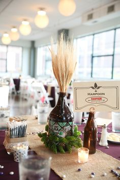 Oh Hoppy Day!  Hops, Wheat, and Growlers can make for tasty centerpieces!
