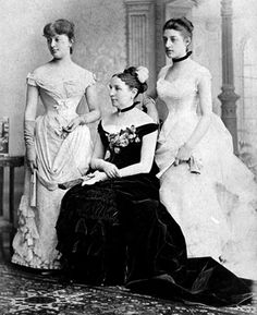 Mrs. A. Taft with Maria Herron and Fanny Taft wearing similar Victorian fashions.
