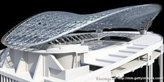 A digital impression of the framework of the aquatic centre roof. The roof weighs 2,800t and is already being acclaimed as a sculptural masterpiece. - Image - Design Build Network