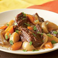 Beer-Braised Beef with Onion, Carrot, and Turnips  I skipped the turnips and served with mashed potatoes.