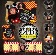 Mickey Mouse first birthday party package. Yellow/red (we have done several mickey mouse first birthday styles!) Designed by RMB Art & Design https://www.facebook.com/RMBArtAndDesign/ #mickeymouse #mickeymouseinvitation #mickeymousebirthday #mickemousefirstbirthday #invitation #thankyoucard #cupcaketoppers #waterbottlelabel