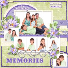 love the scrapbook layout--maybe not the colors...  Would be great for pics from a portrait session.