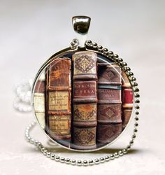 Book Necklace, Librarian Jewelry, Library, Bibliophile, Book Lover, Bookworms, Art Pendant with Ball Chain Included (ITEM B055)