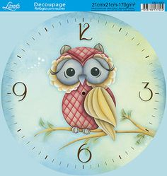 Litoarte                                                                                                                                                                                 Mais Decoupage Vintage, Decoupage Paper, Owl Clock, Clock Art, Clock Printable, Clock Template, Mirror Painting, Easy Home Decor, Pottery Painting