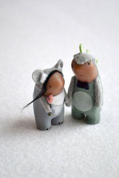 custom wedding cake topper - animal cake topper - character portrait