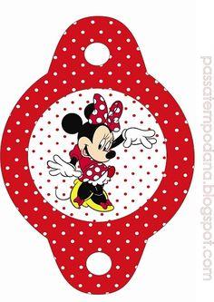 Adornos de Minnie vestido rojo - Adornos para sorbetes candy bar Minnie moño rojo