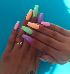 you should stay updated with latest nail art designs, nail colors, acrylic nails, coffin nails, almo Summer Acrylic Nails, Cute Acrylic Nails, Pastel Nails, Spring Nails, Cute Nails, Colorful Nails, Multicolored Nails, Coffin Acrylic Nails Long, Easy Nails
