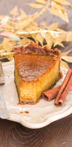 Healthy Pumpkin Pie — sweet, smooth, creamy, and packed with pumpkin and spices! This pie ain't like your classic Pumpkin Pie. Classic Pumpkin Pie is usually made with unhealthy ingredients, such as sugary sweetened condensed milk and a buttery crust made with bleached white flour… ughhh. The last thing we need during the holidays is a small slice of pie packed with a ton of sugar, calories, and fat.