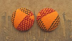 Fabric Covered Button Earrings / Wholesale Jewelry / Orange Ethnic Print / Bulk Discount / Stud Earring / Gifts for Her / Hypoallergenic by ManhattanHippy on Etsy