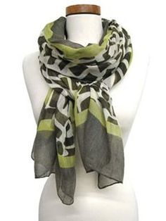 Olive Abstract Animal Print Scarf