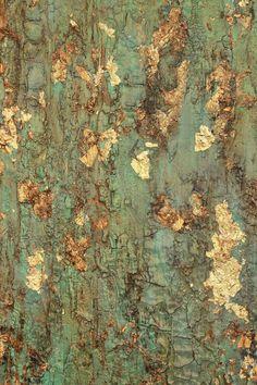 VERKOCHT  getextureerde bladgoud Turquoise schilderij