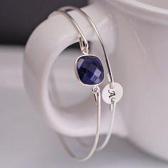 Sapphire Bracelet Personalized Bangle Bracelet by georgiedesigns