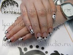 Панда!) Нейл-арт, маникюр, дизайн ногтей, рисунок на ногтях, nail-art, nail-design, shellac, фрэнч- покрытие, французский маникюр, укрепление ногтей. Студия KateMagic