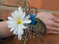GERBERA FLAIR - Peacock Feather Wedding, Prom Wrist Corsage
