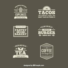 Restaurantes Retro etiquetas Vector Gratis