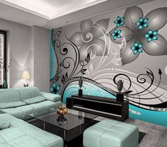 Full size of teal and grey bedroom decor gray ideas fresh wallpaper wall mural w x h decorating . Teal Rooms, Teal Living Rooms, Bedroom Turquoise, Turquoise Bathroom, Bedroom Decor On A Budget, Grey Bedroom Decor, Room Wall Decor, Gray Decor, Purple Wall Decor