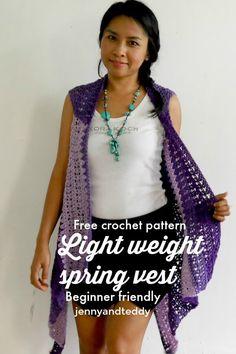 beginner light weight spring vest free crochet pattern by jennyandteddy