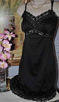 Vintage 50's GAYMODE Black French Lace Full Dress Slip Chemise Nightgown 34-36 #Gaymode