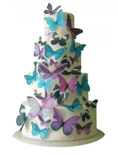 Wedding Cake Topper - THE EMMA 30 Edible Butterflies  -  Cake Decorations, Edible Decorations for Cucpakes